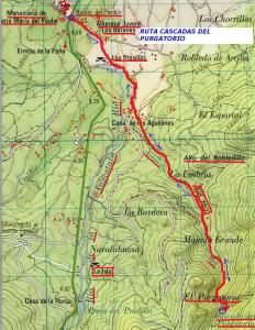 Mapa de la Ruta a la cascada del Purgatorio