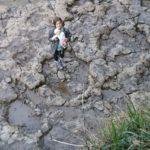dentro de las huellas de un dinosaurio en la playa de la Griega ©J.R.Aguirre