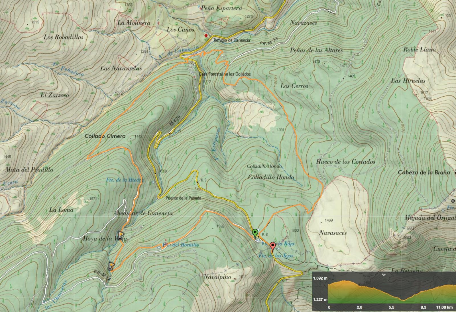 Mapa ruta LA Chorrera de Mojonavalle y abedular de Canencia © J. R. Aguirre